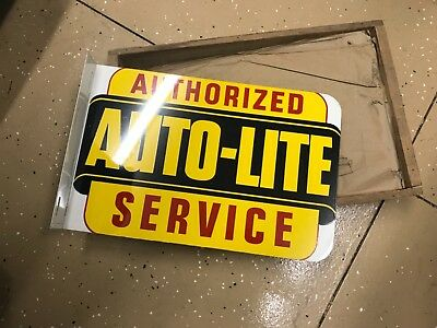 NOS Auto lite Vintage 2 sided Metal Sign  flange  Orig Advertising new in crate