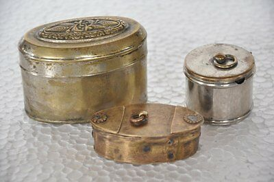3 Pc Old Brass Handcrafted Unique Penny / Small Boxes , Rich Patina