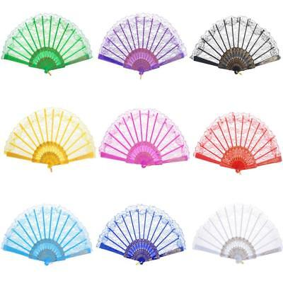 Chinese Style Floral Lace Hand Held Folding Fan Dance Party Wedding Decor