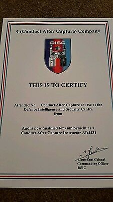 Conduct after Capture SAS certificate