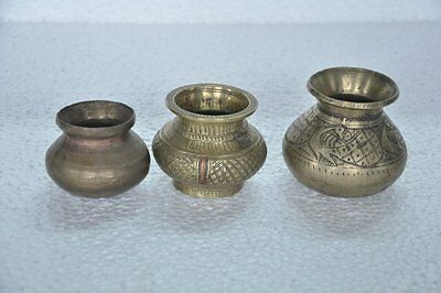 Old Brass Inlay Engraved Small Handcrafted Water Pots , Rich Patina