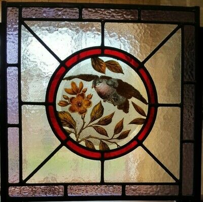 Stained Glass Hand-Painted Bird Center