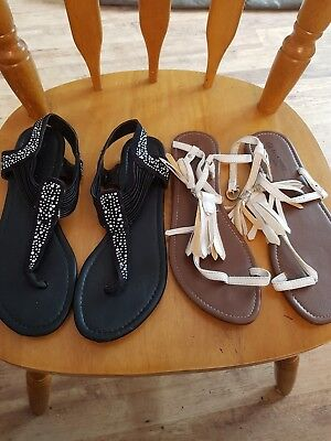 2 Pair Of Ladies Summer Sandals Size 7 Toe Post Beach Party Festival joblot sexy