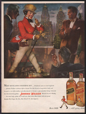 Johnnie Walker Scotch Whiskey OCT 1950 Scotland's Favorite Son Original Print Ad