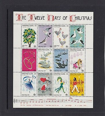 "CHRISTMAS Island 1977 Christmas MINISHEET ""The Twelve Days of Christmas""  MNH -"