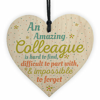 Amazing Colleague Co Worker Wood Heart Plaque Friendship Work Thank You Gift
