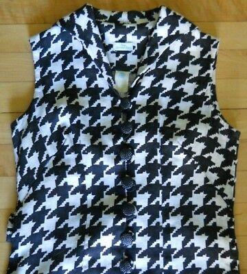 Vintage 60s/70s Pure Linen Dogtooth Dress Fitted Shift Buttons Down Front Size S