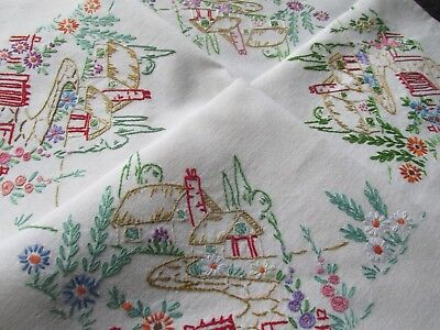 Vintage Hand Embroidered Tablecloth-BEAUTIFUL COUNTRY COTTAGES & FLORAL GARDENS