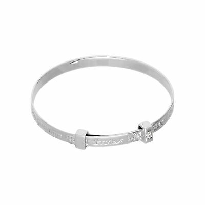 Sterling Silver & Clear CZ Crystal 40mm Adjustable Baby Guardian Angel Bangle