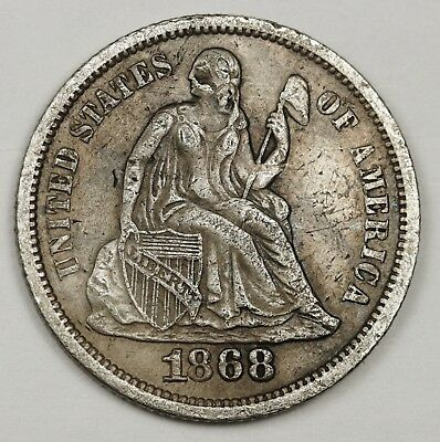 1868 Liberty Seated Dime.  Natural X.F.  127169