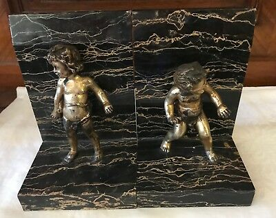 Antique French Bronze  Cherubs & Marble Bookends