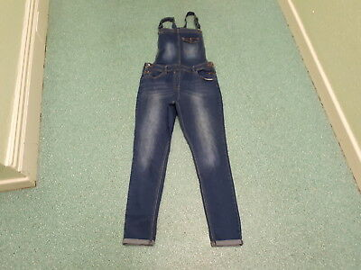 "George Age 13/14 Yrs Waist 30"" Leg 28"" Faded Dark Blue Girls Denim Dungarees"