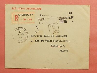 1945 French Madagascar Taxe Percue Registered Tananarive To France Wwii Censored