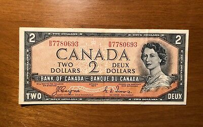 1954 Canada Devil Face Two 2 Dollars BB Series Bill Banknote