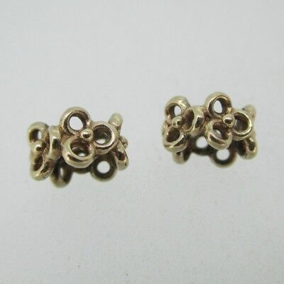 0488fa00f 14K Yellow Gold Pandora Flower 585 ALE Charm Bead Spacers Set of 2