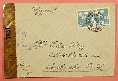 Sweden Coil On 1943 Airmail Kiruna Cancel To Usa Wwii Censored