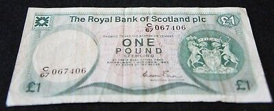 1982 Bank of Scotland 1 Pound Note in Fine Condition Nice Note!