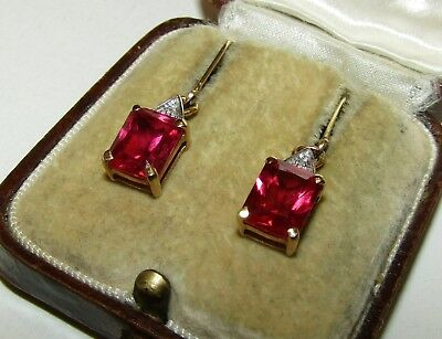 Exquisite, Art Deco, 9 Ct Gold Earrings With Fine Rubellite And Diamonds