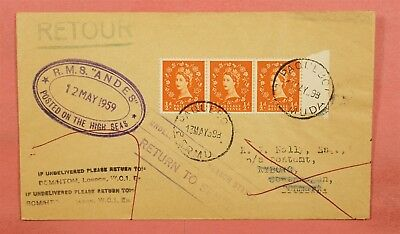 1959 Gb Rms Andes Ship Paquebot Posted On The High Seas To Denmark Rts