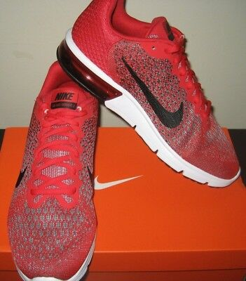 Nike Mens Air Max Sequent 2 Running Shoes Red Black Size 10.5 852461 600 New c8d979985