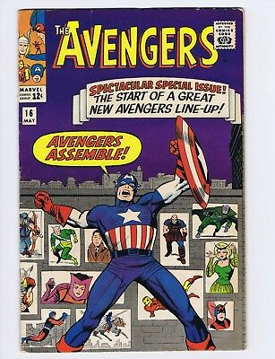Avengers 16 (Solid!) New line-up; Jack Kirby cover; Marvel Comics; 1965 (c#20115
