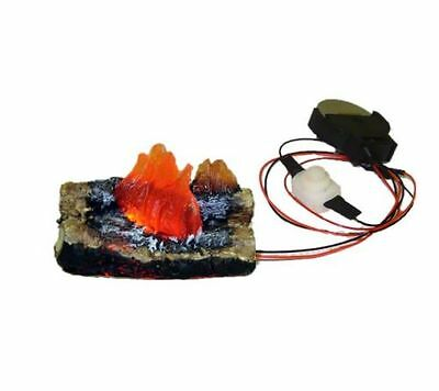 Dollhouse Flickering Fireplace or Camping Fire Logs Battery Op 1:12 Miniatures