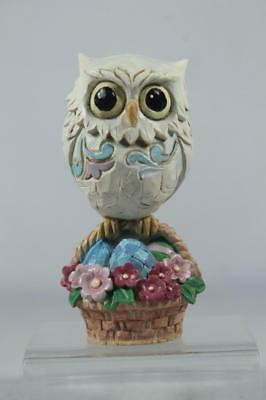 Jim Shore 'Easter Owl On Basket Mini' Figurine Colorful #6001081 NEW In Box
