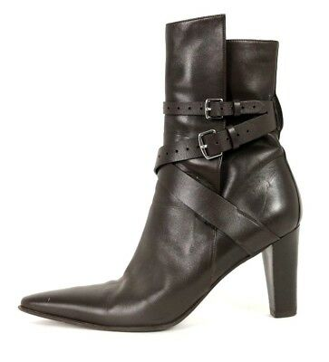 380ffe6c28c HERMES CHOCOLATE BROWN Leather Strappy High Heel Ankle Boots 39.5 ...