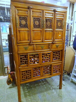 Antique Chinese Carved Tall Cabinet Characters