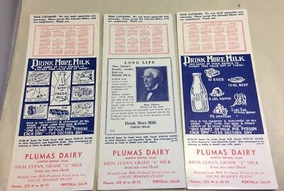3 Vntg 1951-52 Plumas Dairy Advertising Ink Blotters Thomas Edison Portola CA