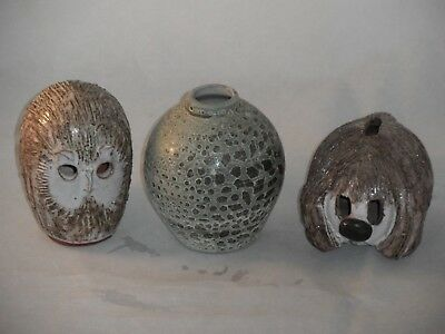 Briglin Studio Pottery London Vase. Owl & Dog Money Boxes Vase & Owl Impressed