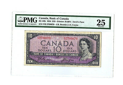 1954 $10 CANADA PMG 20 DEVIL'S FACE BC-32b BANKNOTE RARE S/N F/D 2700070