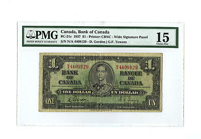 1937 $1 CANADA PMG 15 BC-21c CHOICE FINE BANKNOTE WIDE SIGNATURE S/N N/A 4409129