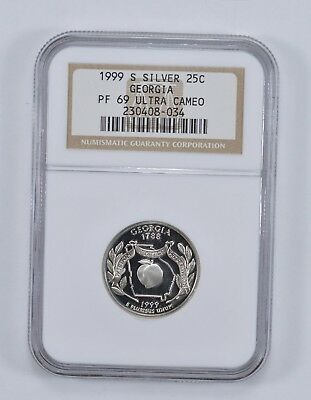 PROOF PF69UCAM - 1999-S Georgia State Quarter 90% Silver - NGC Graded *465