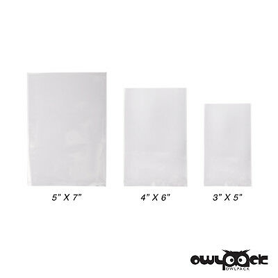 Multi Pack 3x5 4x6 5x7 2 mil Owlpack Poly Open End Plastic Bag -100 each size