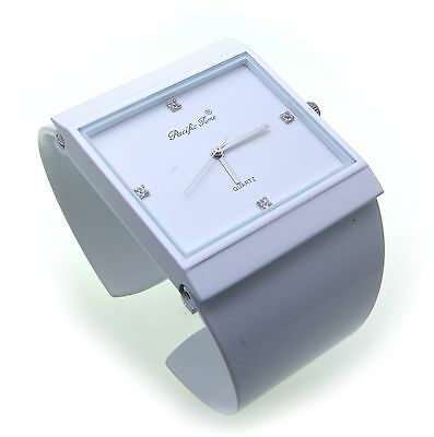 New Exclusive Women's Watch White Quartz Clasp Watch Clip Crystal Blue Square