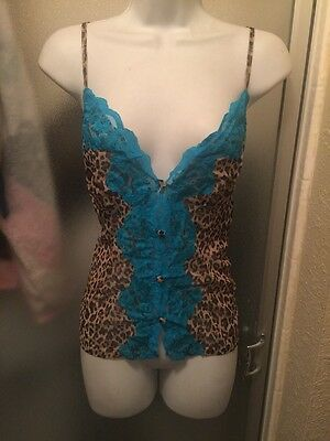 Sexy~Womens~Teal~Animal Print~Sheer~Lingerie~Top Piece~Ruffles Panty~New~XL~Avon