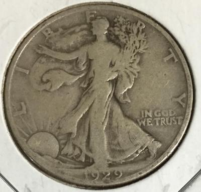 1929D US Walking LIBERTY SILVER Half Dollar! FINE! Old US Coins!