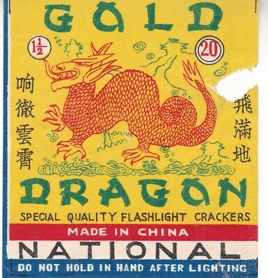 Chinese Firecracker Label Gold Dragon National Brand (piece out); 68 x 76mm*d