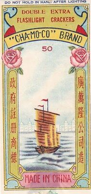 """Chinese Firecracker Label """"Cha-Mo-Co"""" Brand; Ship, flower topical; Excellent C*d"""