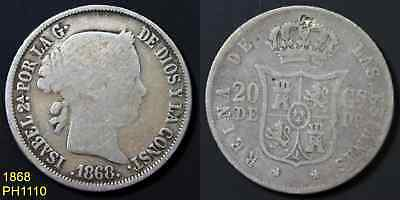 PHILIPPINES SPAIN 20 Centimos 1868 circulated 90% silver coin