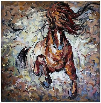 Hand Painted Abstract Horse Oil Painting On Canvas - Modern Animal Wall Art