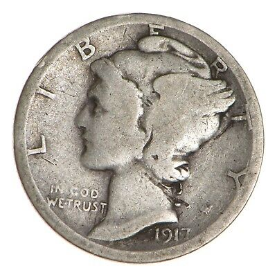 ALMOST 100 Years OLD 1917-S Mercury Liberty 90% Silver United States Dime *356