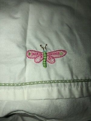 pottery barn kids Pink Lily dragonfly dust ruffle/bed skirt, crib toddler bed