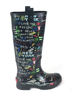 2192f0ada2d4 DKNY Rain Boot Niagra Graffiti Tall Rubber Boots Knee High Love New York US  7