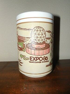 Expo 86 Vancouver Canada Worlds Fair ~ Vintage Coffee Lg Mug ~ Etched Tan Pink
