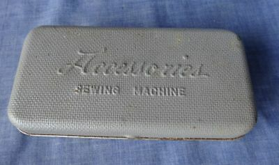 Vintage Sewing Machine Accessories Grey Metal Tin Box Case & Accessories