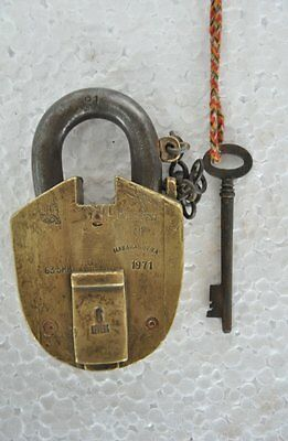 Old Brass Solid Heavy SGMW 6 Lever Handcrafted Padlock , Rich Patina
