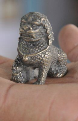 Old Unique Brass Handcrafted Engraved Small Lion Figurine