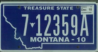 "MONTANA passenger 2010 license plate ""7 12359A"" ***NATURAL***FLATHEAD***"